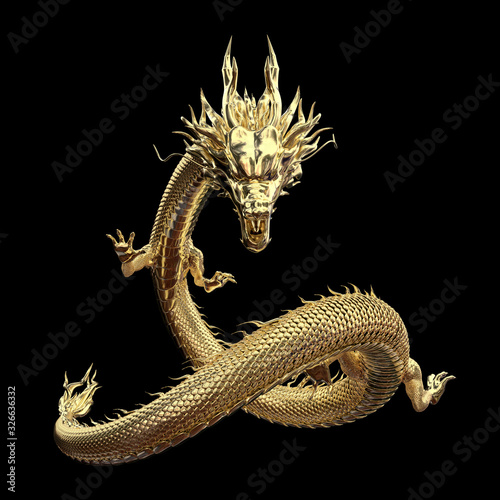 Full body gold dragon in smart pose with 3d rendering include alpha path Fotobehang