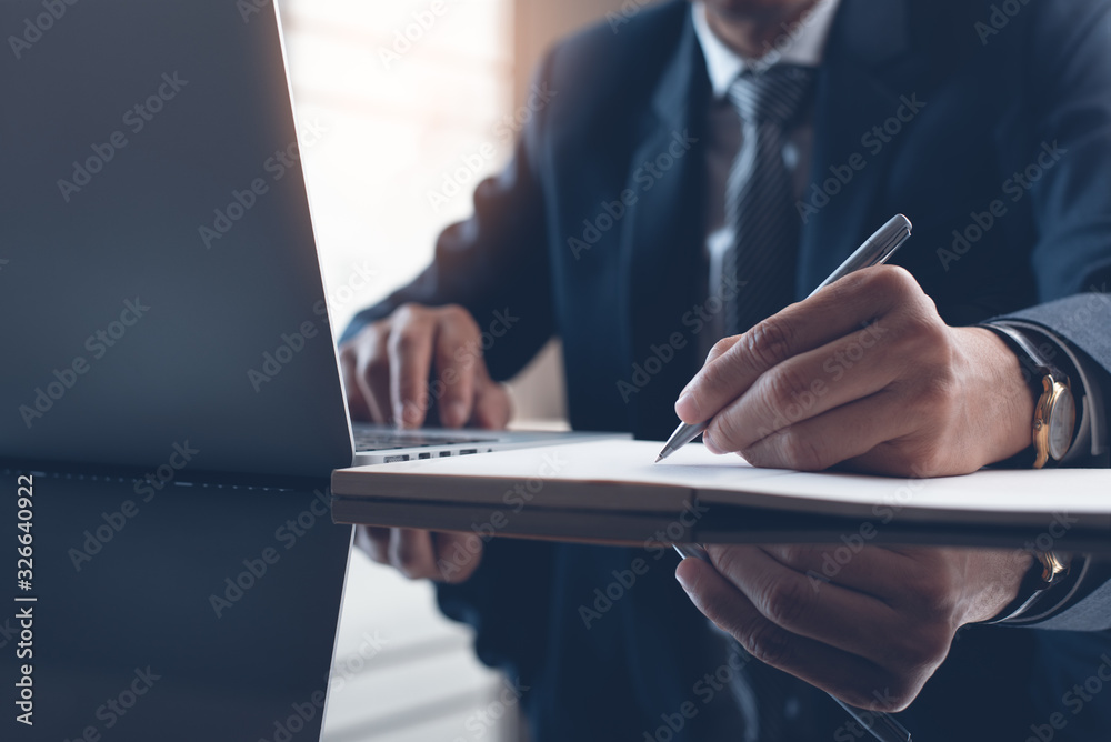 Fototapeta Businessman working in modern office