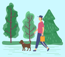 Male Character Walking Dog On Leash In Summer Park. Man And Puppy In Spring Forest. Personage Strolling On Weekends With Domestic Animal. Canine Of Purebred With Its Owner Outdoors, Vector In Flat