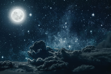 Fototapeta Niebo backgrounds night sky with stars and moon and clouds. Elements of this image furnished by NASA
