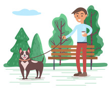 Hipster Walking Dog On Leash. Teenager With Cup Of Coffee Strolling In Forest With Pet. Happy Domestic Animal With Owner Outdoors. Man With Puppy Spending Weekends Outside, Vector In Flat Style