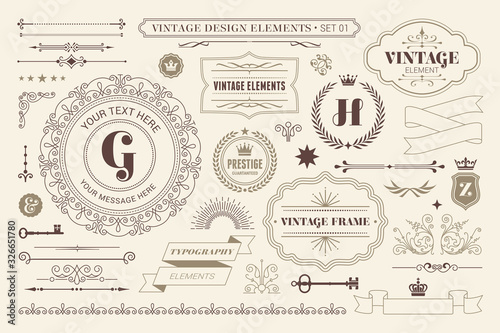 Fototapeta Vintage sign frames. Old decorative frame design, retro ornate label elements and luxurious vintage borders. Premium certificate badge, victorian elegant tag. Isolated vector symbols set obraz na płótnie