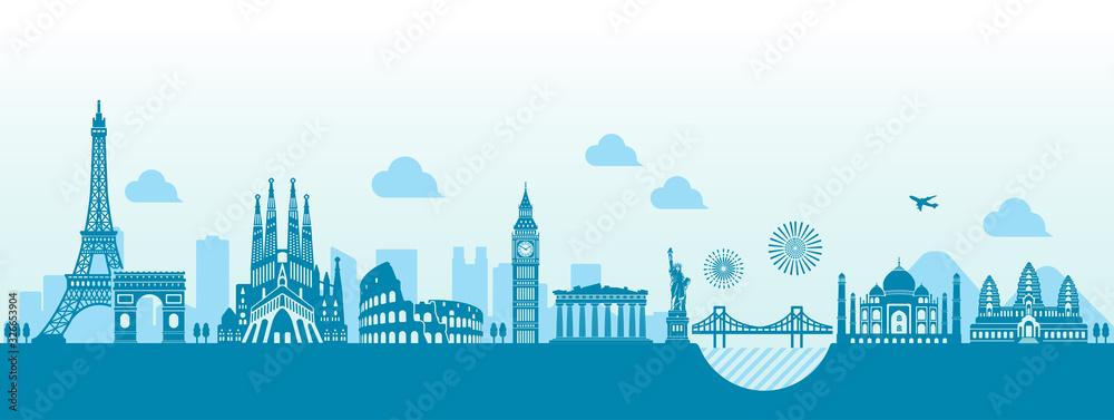 Fototapeta World heritage / famous landmark buildings vector illustration ( side by side )
