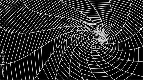 Abstract tunnel. Vector wormhole. 3D corridor mesh. Wallpaper Mural