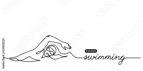 Freestyle swimming vector banner Canvas Print