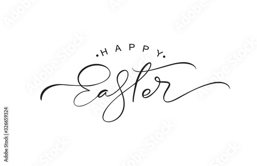 Obraz Happy Easter vintage vector calligraphy text. Hand drawn lettering poster for Easter. Modern Handwritten brush type isolated on white background - fototapety do salonu