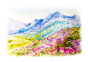 Fototapeta Malarstwo Spring in the mountains with flowers. Watercolor hand drawn botanical illustration. Spring landscape. Watercolor nature. Green fields and grass. Summer.
