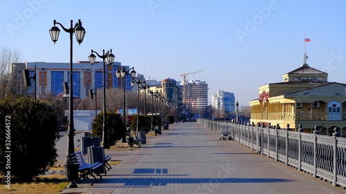Embankment by the Volga River in Astrakhan. Russia Canvas Print