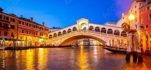 VENICE, ITALY - 23 September 2019: Grand Canal and Rialto bridge at night