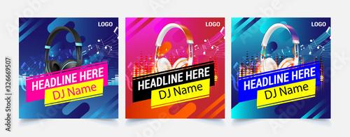 Fototapeta Music web template banner flyer post for social media template for sale ads