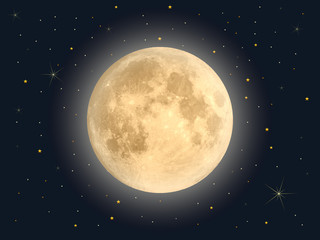 Full moon with star , Vector