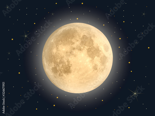 Full moon with star , Vector Canvas-taulu