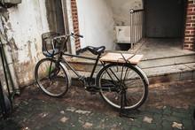 Vintage Old Bicycle With Baske...