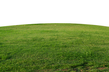 Green grass field isolated on white background with clipping path,Green grass meadow field from outdoor park isolated in white background