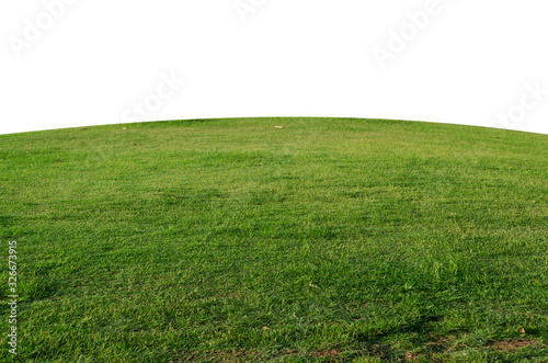 Obraz Green grass field isolated on white background with clipping path,Green grass meadow field from outdoor park isolated in white background - fototapety do salonu