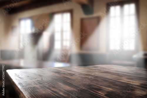 Foto Desk of free space for your decoration and bar interior.