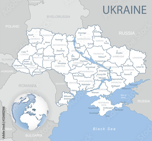 Fotografía Blue-gray detailed map of Ukraine and administrative divisions and location on the globe