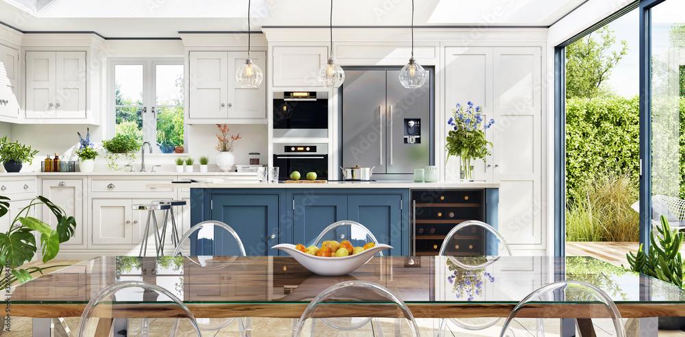 Fototapeta Open plan kitchen and diner to garden in modern terrace