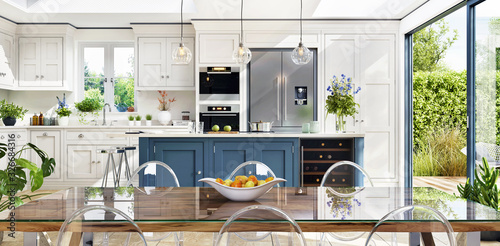 Fotografia Open plan kitchen and diner to garden in modern terrace