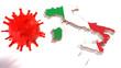CoronaVirus Epidemic In Italy 3D Flag Map. HIV CoronaVirus, Flu. Virus Infection Concept Isolated On The White Background- 3D Illustration