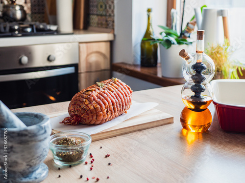 Tablou Canvas Raw turkey meatloaf on table