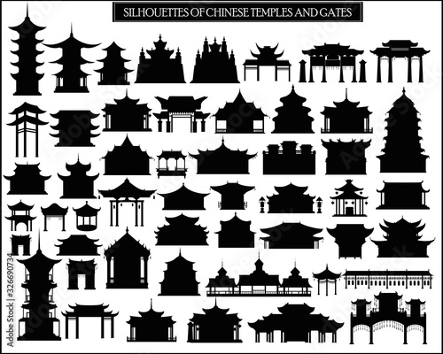 Fotografía Set of vector silhouettes of Chinese temples, gates and traditional buildings