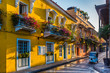 canvas print picture - street in old town Cartagena, Colombia