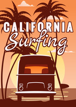 Surfer Retro Bus, Van, Camper With Surfboard On The Tropical Beach. Poster California Surfing Palm Trees And Ocean