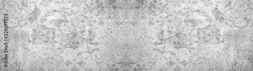 Fototapeta Old gray vintage shabby damask patchwork tiles stone concrete cement wall texture background banner obraz