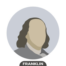 Benjamin Franklin, United States Politician. Stylized Portrait. Vector Illustration On White Background