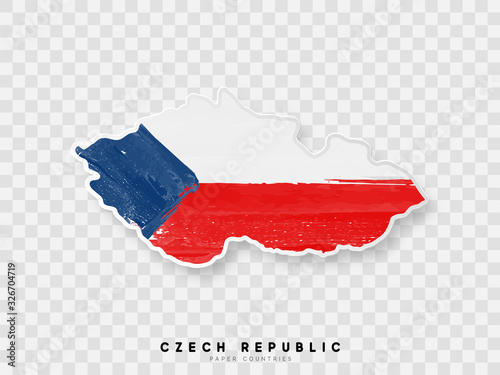 Czech republic detailed map with flag of country Fototapeta