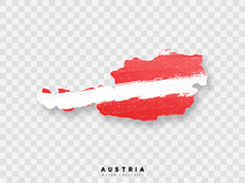 Austria Detailed Map With Flag Of Country. Painted In Watercolor Paint Colors In The National Flag.