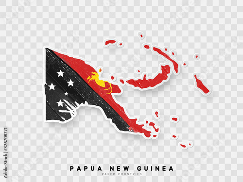 Obraz na plátně Papua New Guinea detailed map with flag of country