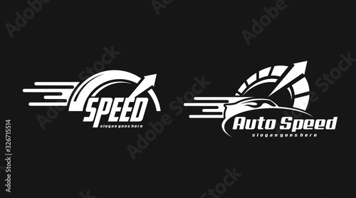 Fotografía Flat speed logo concept vector. Retro  speed logo vector