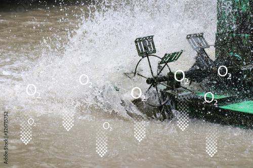 Valokuvatapetti Aerator turbine wheel for adding oxygen to water sources with oxygen symbol