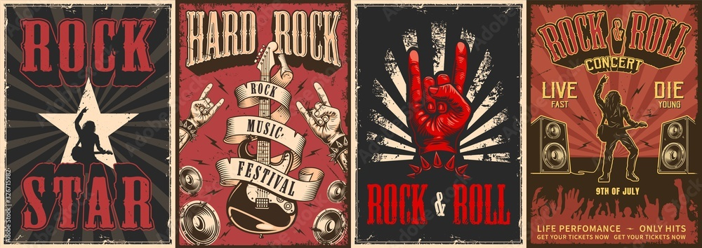 Fototapeta Rock and roll colorful posters