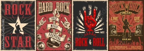 Rock and roll colorful posters