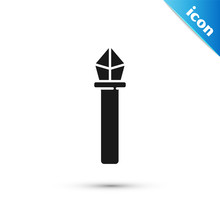 Grey Magic Staff Icon Isolated...