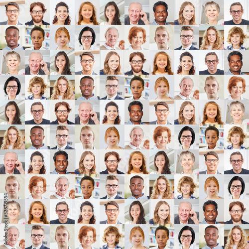 Fotografiet Generationen Portrait Collage als Gesellschaft Konzept