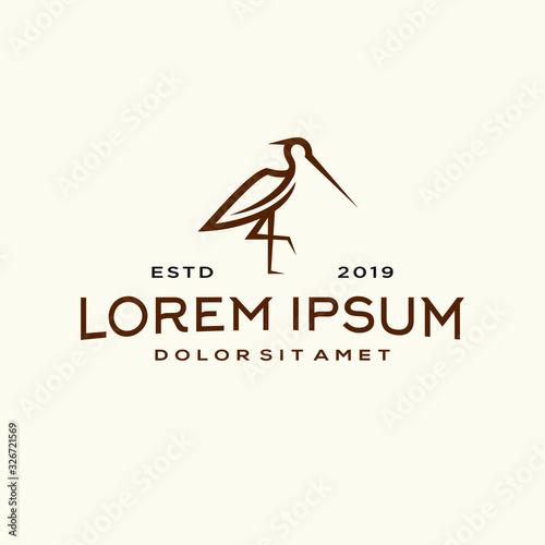 Obraz na płótnie heron pelican stork vector logo lineart line outline monoline icon design stock