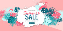 Summer Sale Poster With Tropic...