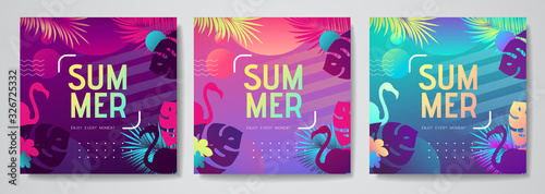 Set of colorful summer tropical gradient backgrounds with fluorescent tropic leaves Poster Mural XXL