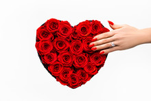 Red Roses In A Elegant Box In ...