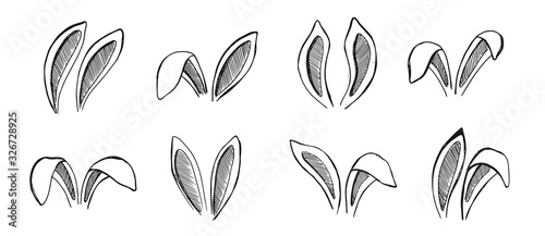 Photo Set of rabbits's ears. Hand drawn illustration.