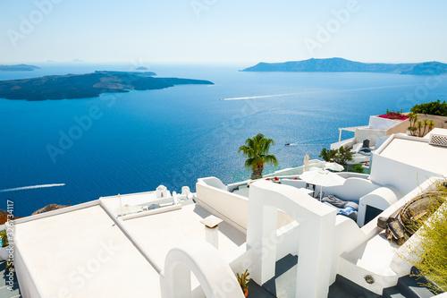Fototapeta White architecture and blue sea on Santorini island, Greece. Summer holidays, travel destinations concept obraz