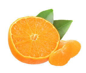 Tangerine slices isolated on the white background.