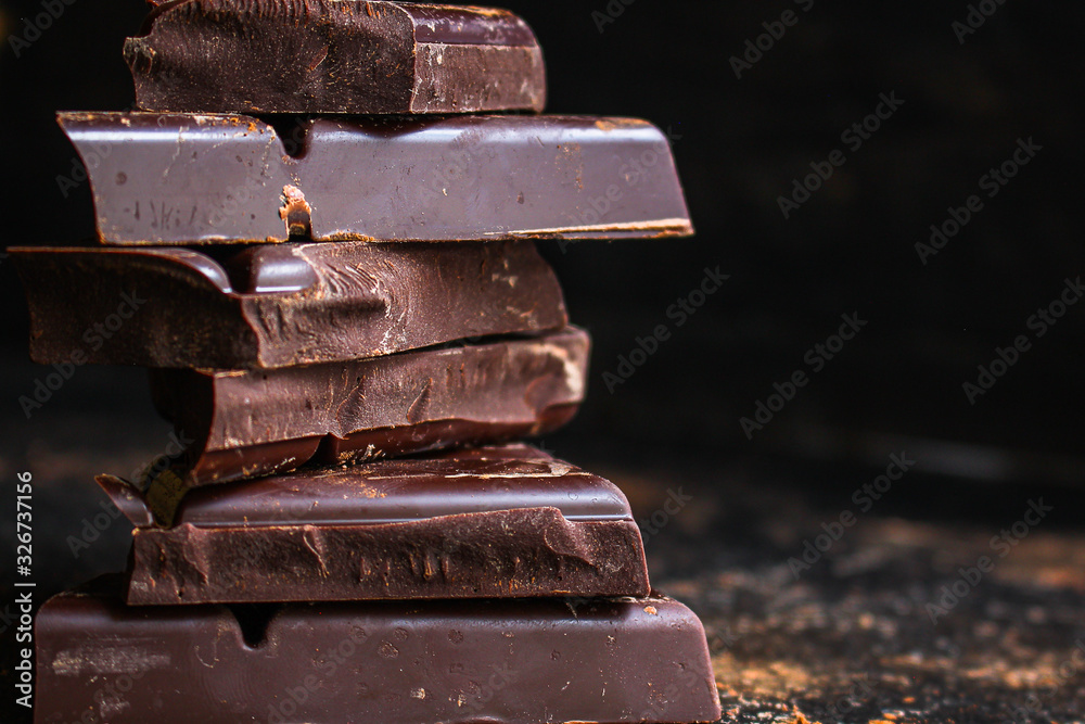 Fototapeta chocolate delicious cocoa dessert, pieces of sweets, menu concept. food background top view. copy space