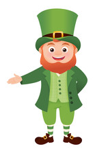 Leprechaun Presenting, St. Patricks Day Character Isolated Vector