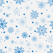 Winter Background With Blue Snowflakes. Blue Snowflakes. Vector Illustration. Seamless Background.