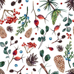 Panel Szklany Podświetlane Inspiracje na zimę Watercolor seamless pattern with pine cones, branches of rose hip, alder, juniper eucalyptus and pine, rowan bunches, juniper and rowan berries. Hand painted floral pattern with forest spirit.